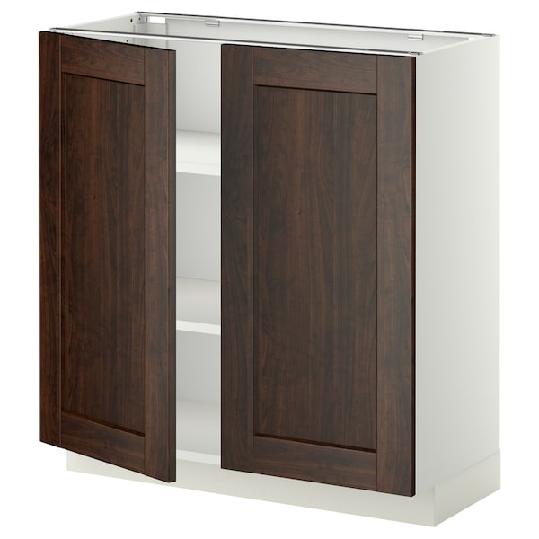 METOD Base cabinet with shelves/2 doors, white/Edserum brown, 80x37x80 cm