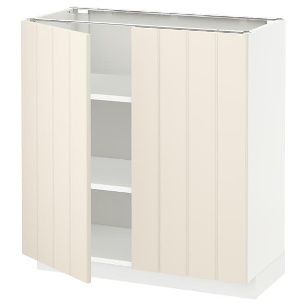 METOD Base cabinet with shelves/2 doors, white/Hittarp off-white, 80x37x80 cm
