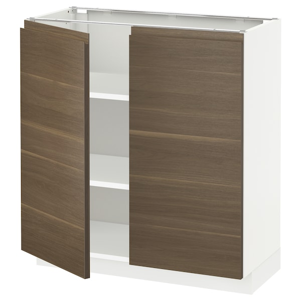 METOD Base cabinet with shelves/2 doors, white/Voxtorp walnut effect, 80x37x80 cm