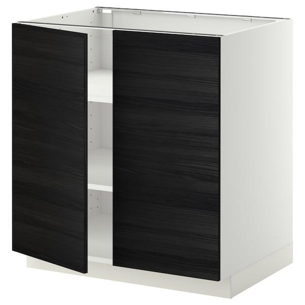 METOD base cabinet with shelves/2 doors white/Tingsryd black 80.0 cm 60 cm 61.6 cm 80.0 cm
