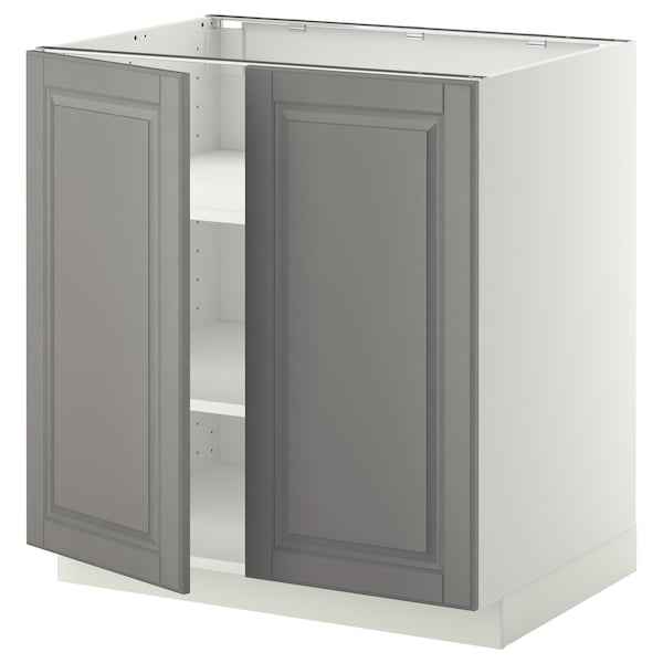 METOD base cabinet with shelves/2 doors white/Bodbyn grey 80.0 cm 60 cm 61.9 cm 80.0 cm