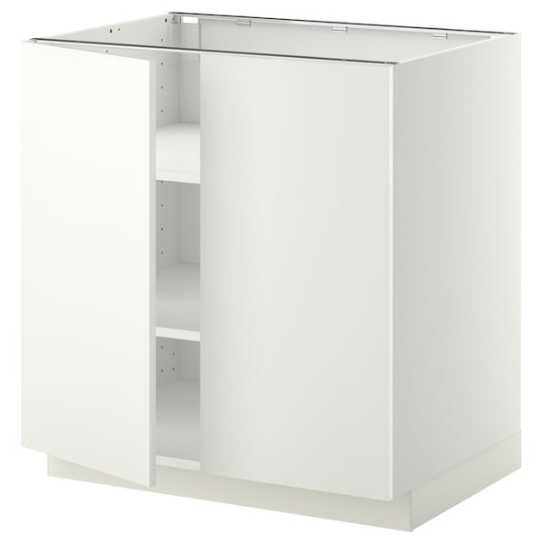 METOD base cabinet with shelves/2 doors white/Häggeby white 80.0 cm 60 cm 61.6 cm 80.0 cm