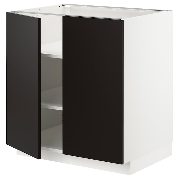 METOD base cabinet with shelves/2 doors white/Uddevalla anthracite 80.0 cm 60 cm 61.6 cm 80.0 cm