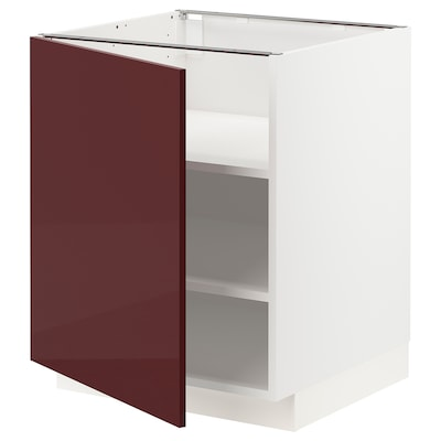 METOD Base cabinet with shelves, white Kallarp/high-gloss dark red-brown, 60x60x70 cm