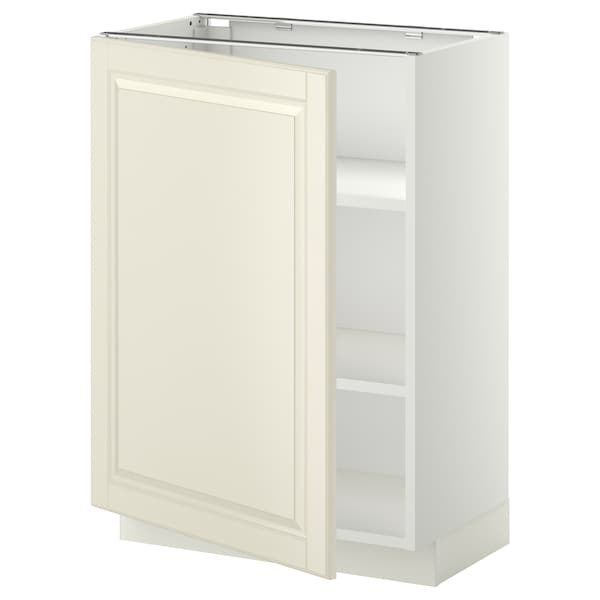 METOD base cabinet with shelves white/Bodbyn off-white 60.0 cm 37 cm 38.9 cm 80.0 cm