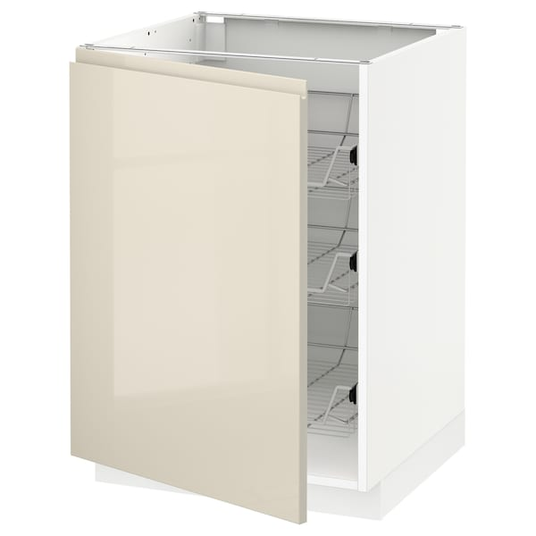 METOD base cabinet with wire baskets white/Voxtorp high-gloss light beige 60.0 cm 62.1 cm 88.0 cm 60.0 cm 80.0 cm