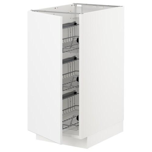 METOD base cabinet with wire baskets white/Kungsbacka matt white 40.0 cm 60 cm 61.8 cm 80.0 cm