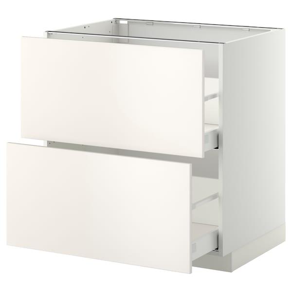 METOD Base cb 2 fronts/2 high drawers, white Maximera/Veddinge white, 80x60x80 cm