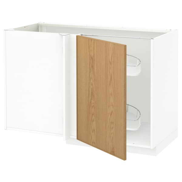 METOD Corner base cab w pull-out fitting, white/Ekestad oak, 128x68x80 cm