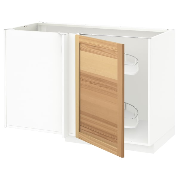 METOD Corner base cab w pull-out fitting, white/Torhamn ash, 128x68x80 cm