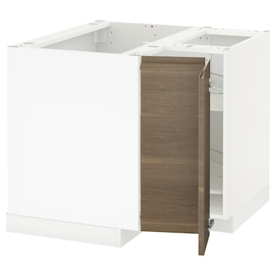 METOD Corner base cabinet with carousel, white/Voxtorp walnut effect, 88x62x70 cm