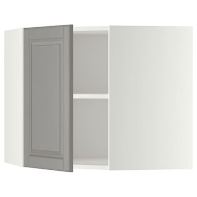 METOD Corner wall cabinet with shelves, white/Bodbyn grey, 68x37x60 cm