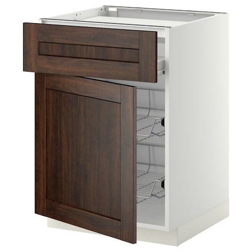 METOD / FÖRVARA base cab f hob/drawer/2 wire bskts white/Edserum brown 60.0 cm 61.8 cm 60.0 cm 80.0 cm