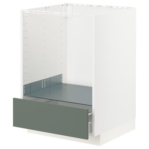 METOD / FÖRVARA base cabinet for oven with drawer white/Bodarp grey-green 60.0 cm 61.6 cm 60 cm 80.0 cm