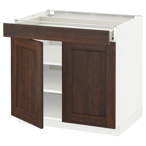 METOD / FÖRVARA base cabinet/shelves/drawer/2 doors white/Edserum brown 80.0 cm 61.8 cm 60 cm 70 cm