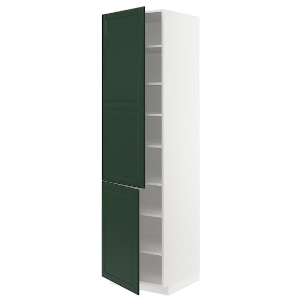 METOD High cabinet with shelves/2 doors, white/Bodbyn dark green, 60x60x220 cm