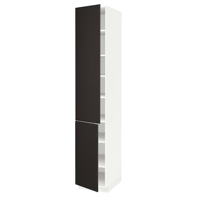 METOD High cabinet with shelves/2 doors, white/Kungsbacka anthracite, 40x60x220 cm