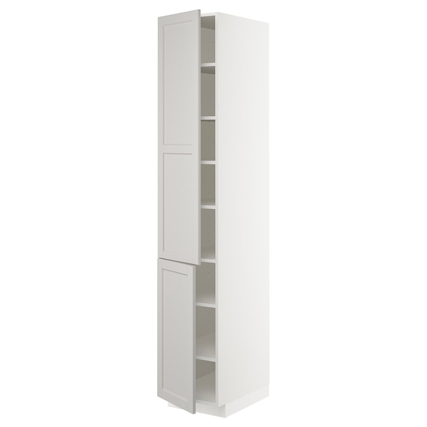 METOD High cabinet with shelves/2 doors, white/Lerhyttan light grey, 40x60x220 cm