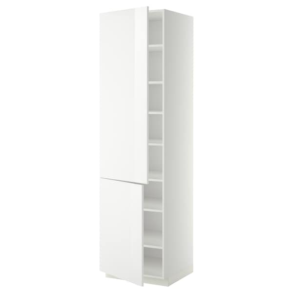 METOD High cabinet with shelves/2 doors, white/Ringhult white, 60x60x220 cm