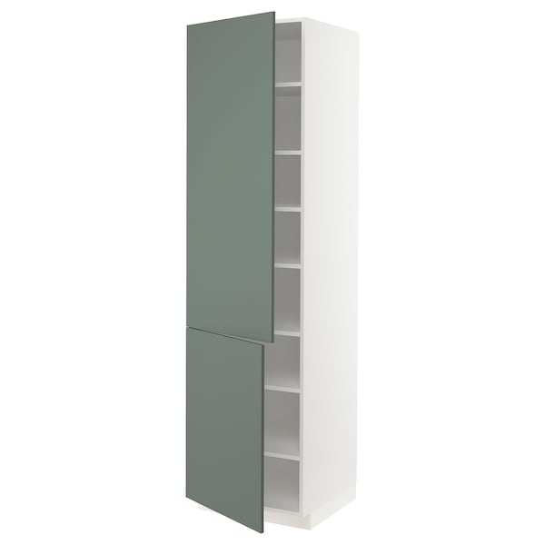 METOD high cabinet with shelves/2 doors white/Bodarp grey-green 60.0 cm 60 cm 61.6 cm 228.0 cm 220.0 cm