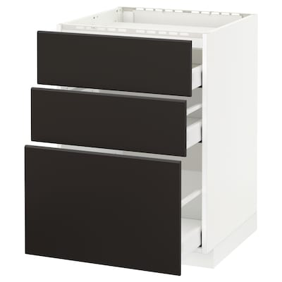 METOD / MAXIMERA Base cab f hob/3 fronts/3 drawers, white/Kungsbacka anthracite, 60x60x80 cm