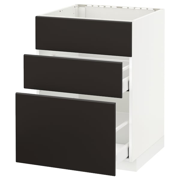 METOD / MAXIMERA Base cab f sink+3 fronts/2 drawers, white/Kungsbacka anthracite, 60x60x80 cm