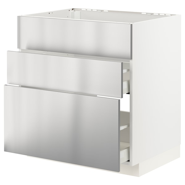 METOD / MAXIMERA Base cab f sink+3 fronts/2 drawers, white/Vårsta stainless steel, 80x60x80 cm