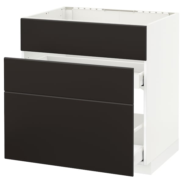 METOD / MAXIMERA base cab f sink+3 fronts/2 drawers white/Kungsbacka anthracite 80.0 cm 61.6 cm 60.0 cm 80.0 cm