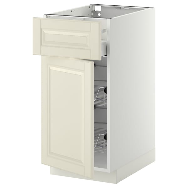 METOD / MAXIMERA base cab w wire basket/drawer/door white/Bodbyn off-white 40.0 cm 61.9 cm 60.0 cm 80.0 cm