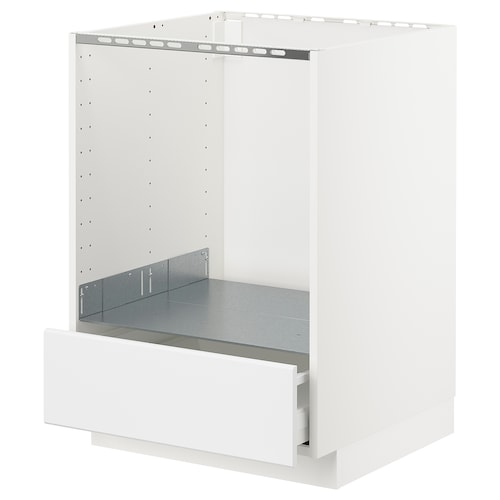 METOD / MAXIMERA base cabinet for oven with drawer white/Kungsbacka matt white 60.0 cm 61.6 cm 60.0 cm 80.0 cm