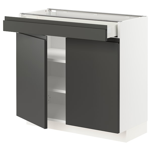 METOD / MAXIMERA base cabinet/shelves/drawer/2 doors white/Voxtorp dark grey 80.0 cm 39.1 cm 37 cm 70 cm