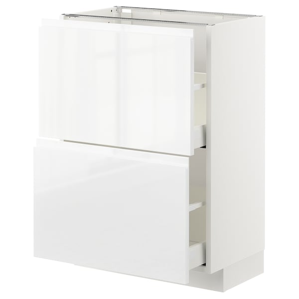 METOD / MAXIMERA Base cabinet with 2 drawers, white/Voxtorp high-gloss/white, 60x37x80 cm