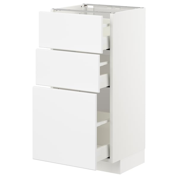 METOD / MAXIMERA Base cabinet with 3 drawers, white/Kungsbacka matt white, 40x37x80 cm