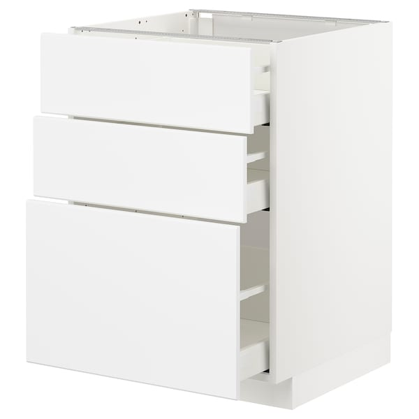 METOD / MAXIMERA base cabinet with 3 drawers white/Kungsbacka matt white 60.0 cm 60 cm 61.8 cm 80.0 cm