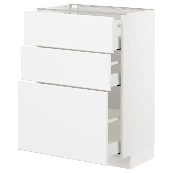METOD / MAXIMERA base cabinet with 3 drawers white/Kungsbacka matt white 60.0 cm 37 cm 39.4 cm 80.0 cm