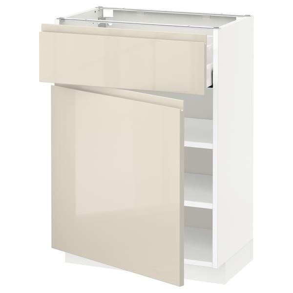 METOD / MAXIMERA base cabinet with drawer/door white/Voxtorp high-gloss light beige 60.0 cm 39.1 cm 88.0 cm 37.0 cm 80.0 cm