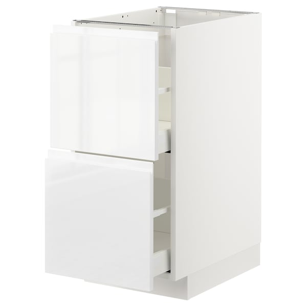 METOD / MAXIMERA Base cb 2 fronts/2 high drawers, white/Voxtorp high-gloss/white, 40x60x80 cm