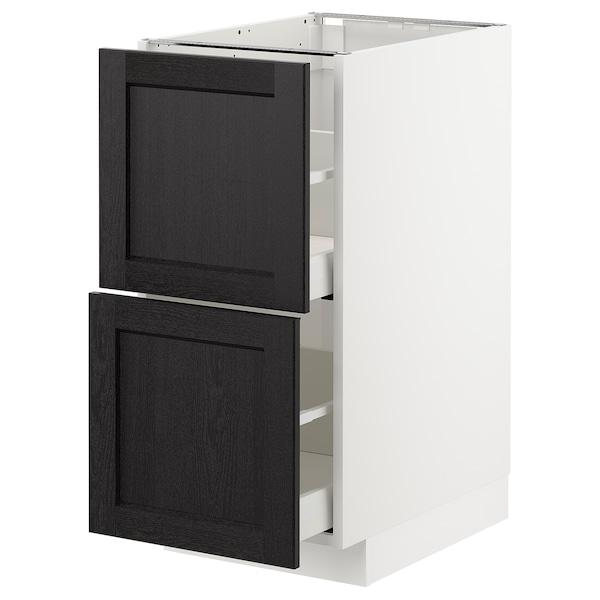 METOD / MAXIMERA base cb 2 fronts/2 high drawers white/Lerhyttan black stained 40.0 cm 61.9 cm 60.0 cm 80.0 cm