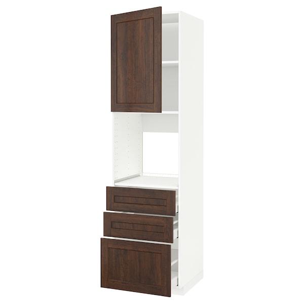 METOD / MAXIMERA high cab f oven w door/3 drawers white/Edserum brown 60.0 cm 61.8 cm 228.0 cm 60.0 cm 220.0 cm