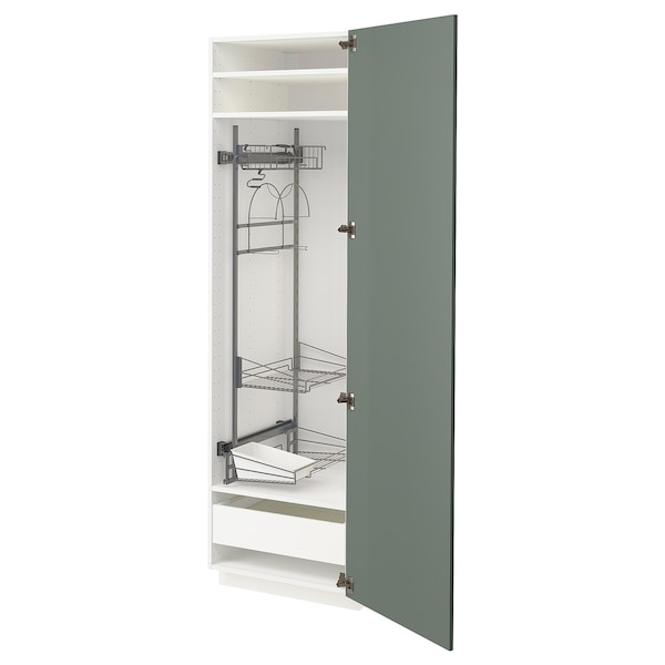 METOD / MAXIMERA High cabinet with cleaning interior, white/Bodarp grey-green, 60x60x200 cm
