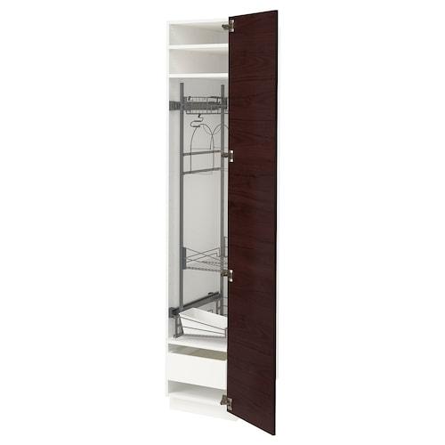 METOD / MAXIMERA high cabinet with cleaning interior white Askersund/dark brown ash effect 40.0 cm 61.6 cm 208.0 cm 60.0 cm 200.0 cm