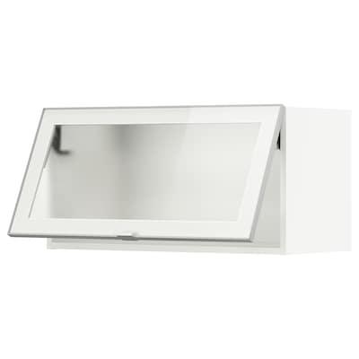 METOD Wall cab horiz gls door w push-open, white/Jutis frosted glass, 80x37x40 cm
