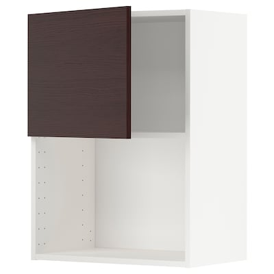 METOD Wall cabinet for microwave oven, white Askersund/dark brown ash effect, 60x37x80 cm