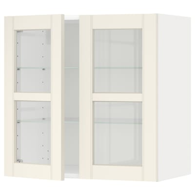 METOD Wall cabinet w shelves/2 glass drs, white/Hittarp off-white, 60x37x60 cm