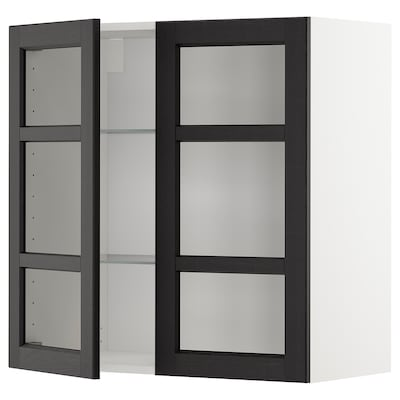 METOD Wall cabinet w shelves/2 glass drs, white/Lerhyttan black stained, 80x37x80 cm
