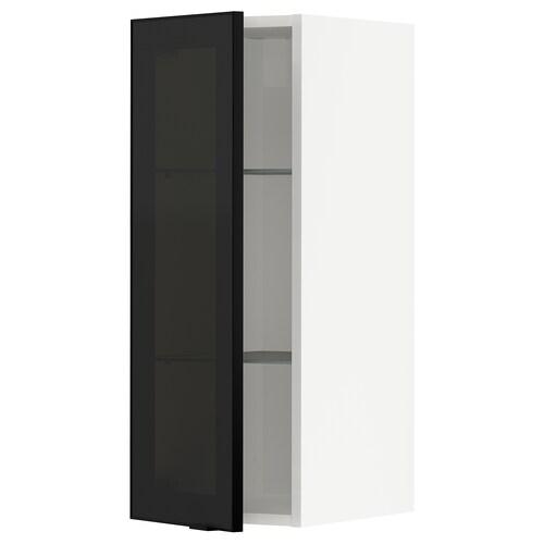 METOD wall cabinet w shelves/glass door white/Jutis smoked glass 30.0 cm 37 cm 38.6 cm 80.0 cm