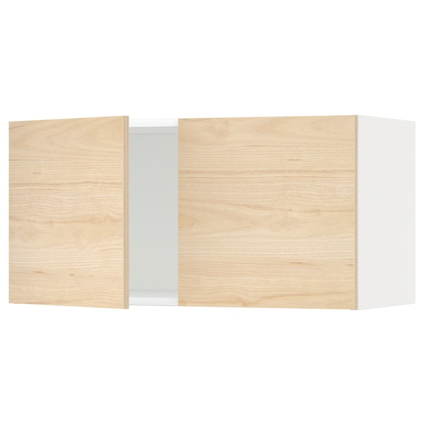 METOD Wall cabinet with 2 doors, white/Askersund light ash effect, 80x37x40 cm