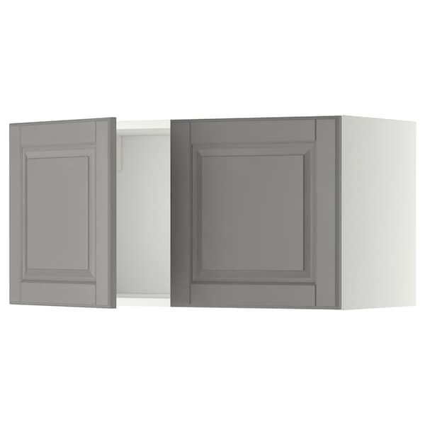 METOD Wall cabinet with 2 doors, white/Bodbyn grey, 80x37x40 cm