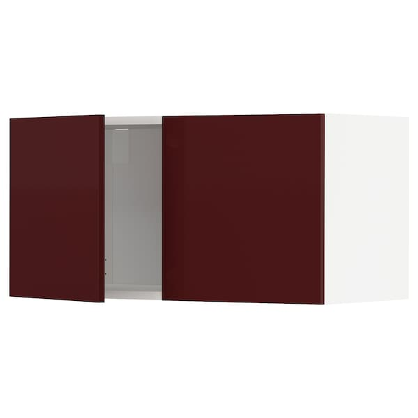 METOD Wall cabinet with 2 doors, white Kallarp/high-gloss dark red-brown, 80x37x40 cm