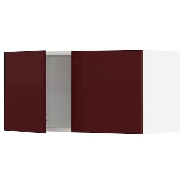 METOD wall cabinet with 2 doors white Kallarp/high-gloss dark red-brown 80.0 cm 37 cm 38.6 cm 40.0 cm